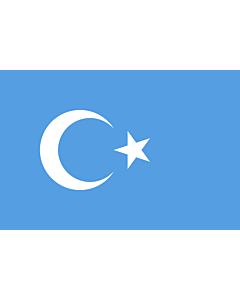 Drapeau: Kokbayraq   Kokbayraq  flag   Turquestão Oriental   Turkestán Oriental   キョック・バイラック(Kök Bayraq)は、ウイグル人による東トルキスタン独立運動の象徴。   Флаг Восточного Туркестана   شەرقىي تۈركىستان بايرىقى   دوْ تۈركىستان ٿِ   东突厥斯坦旗   東突厥斯坦旗