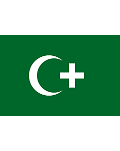 Drapeau: Revolution flag of Egypt 1919 | The revolution flag of Egypt from 1919. It bears a crescent and cross to demonstrate that both Muslims and Christians supported the Egyptian nationalist movement against British occupation