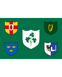 Drapeau: IRFU | IRFU flag first made public in 1925, comprised of the traditional four provinces of Ireland shields and other older elements