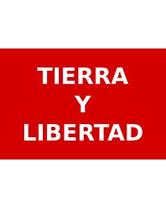 Drapeau: Partido Liberal Mexicano   Roja con el lema  Tierra y Libertad  en letras blancas usada por los guerrilleros del Partido Liberal Mexicano durante la Revolución Mexicana