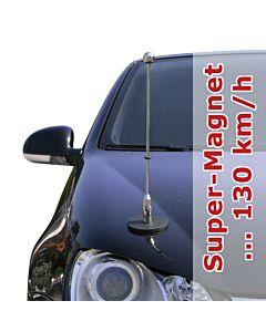 Porte-drapeau de voiture Diplomat-1.30-Chrome  à adhésion magnétique